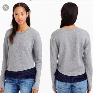 Sweaters - J Crew Grey Sweater with Pleated Navy Hem.